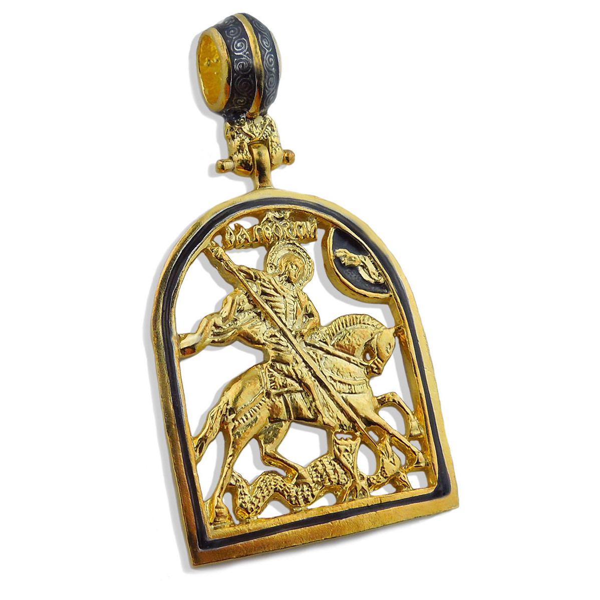 ad new plate pendant gg st george crosses gold clone icon en pure silver sterling medal