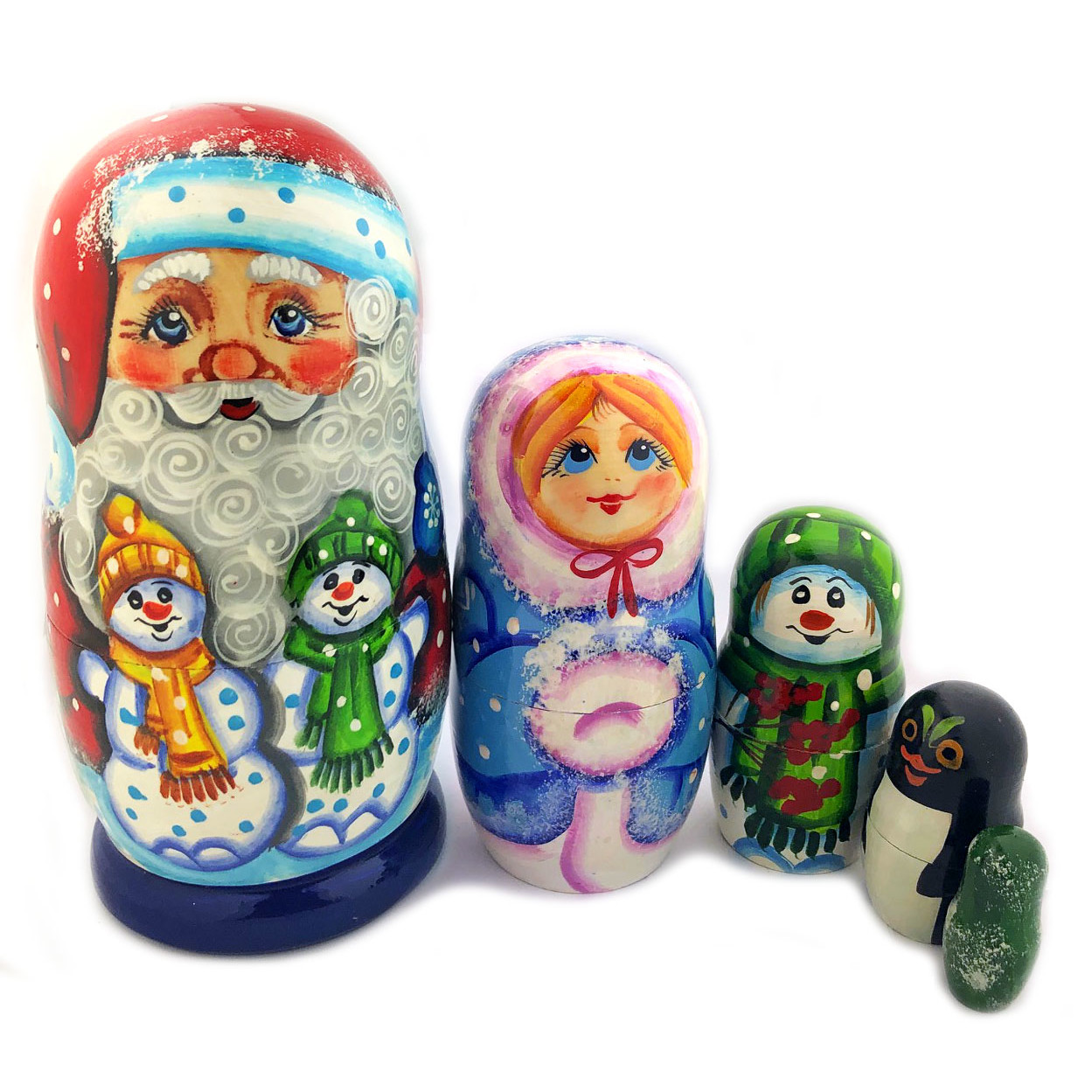 Hand Painted Matryoshka Doll With 5 Nested 5 Inch Tall 4 Inch