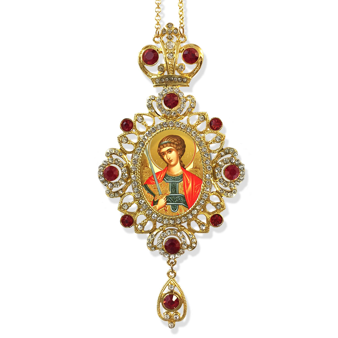 M 19 44 saint michael icon pendant with red stones religious gift m 19 44 saint michael icon pendant with red stones religious gift wall room decoration aloadofball Choice Image