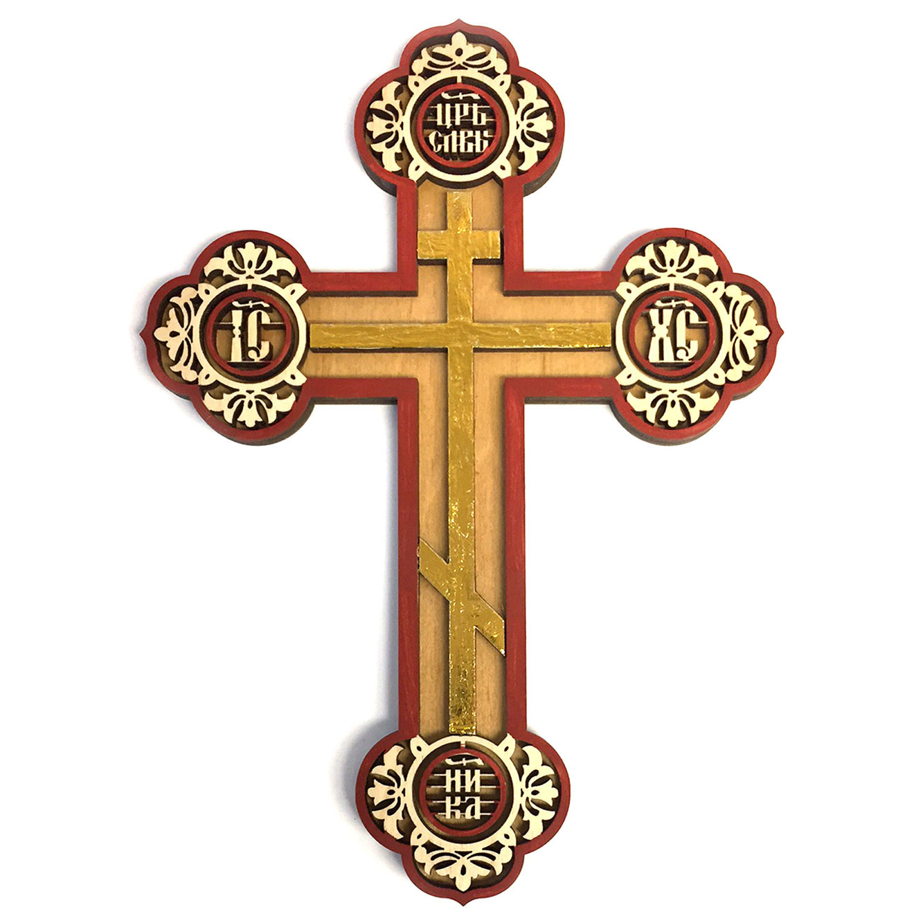Wd 14 Pan Russian Orthodox Laser Cut Three Bar Cross Gold Inhanced 8
