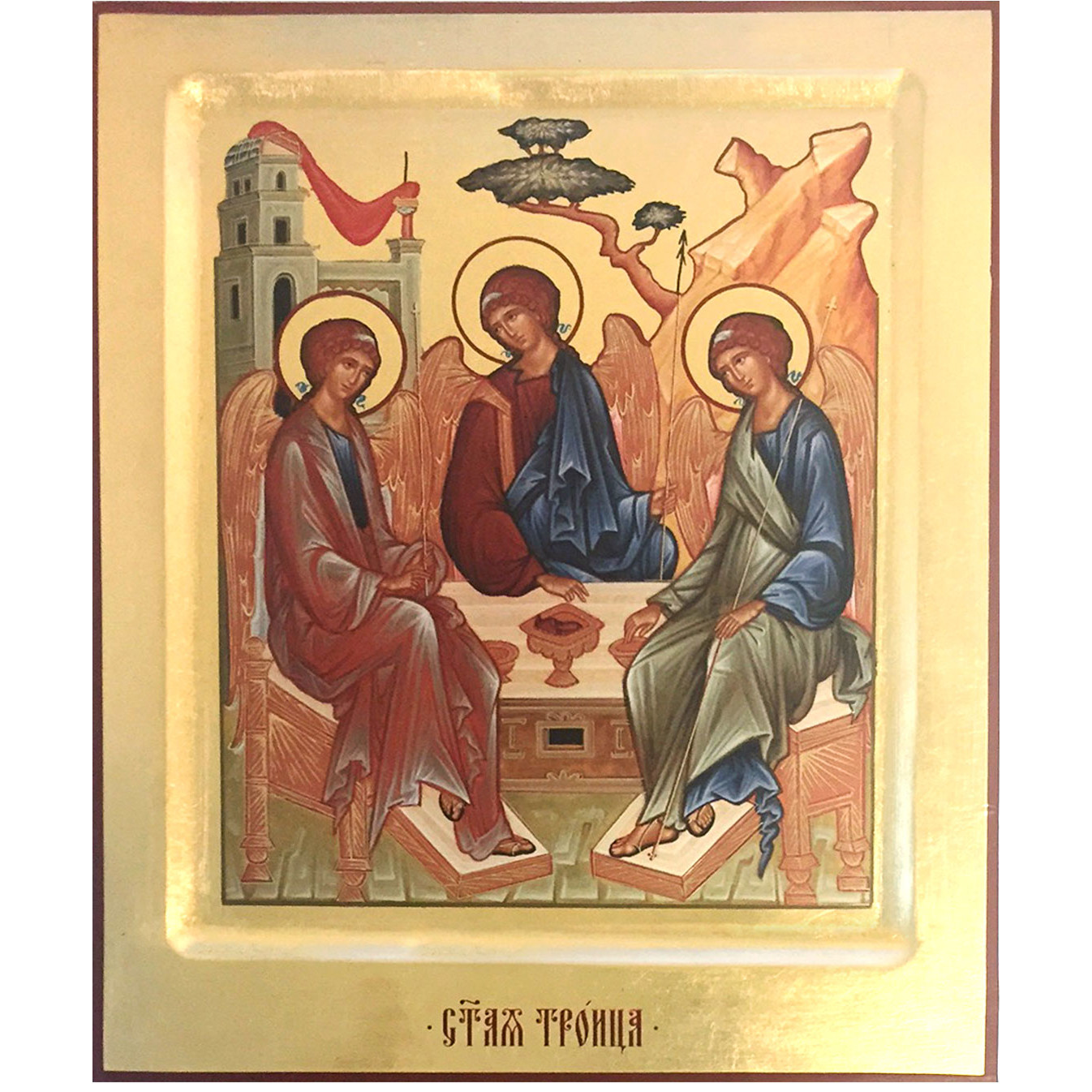 SS-10 Holy Trinity Old Testament Trinity Serigraph Wooden Icon 10