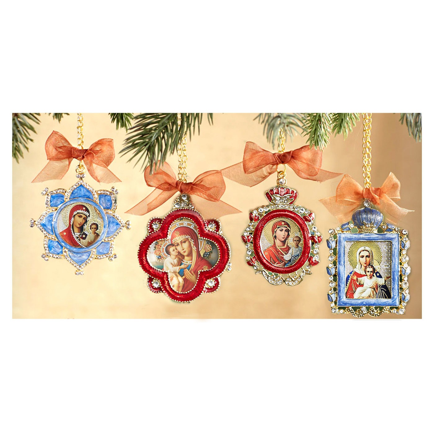 if set 2 set of 3 faberge style enameled framed icon pendantschristmas - Christmas Chain Decorations