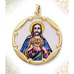 """1960E-SH Sacred Heart 10Kt gold Framed Hand Painted Porcelain & Enamel Medal 1"""""""