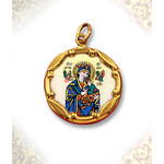 "1970E-PH  Perpetual Help 10Kt gold Framed Hand Painted Porcelain & Enamel Medal 8/8"""