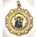 "206E-M Perpetual Help 10Kt gold Framed Hand Painted Porcelain & Enamel Medal 1 3/8""x1"""""