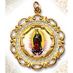 "206E-G Our Lady of Guadalupe 10Kt gold Framed Hand Painted Porcelain & Enamel Medal 1 3/8""x1"""