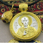 EC-22/165C Set of Three!! Sterling Silver 925 22 kt Gold Plated St Nicholas Medal and Sterling Silver Gold 925 22 kt Gold Plated Egg Pendant with Cable Chain NEW!!!