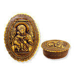 "BIR-44 Birch Icon Box Virgin of Vladimir 4""x3"