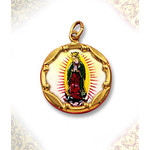 1970E-G Our Lady Guadalupe 10Kt gold Framed Hand Painted Porcelain & Enamel Medal 8/8""