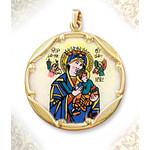 "1960E-PH Perpetual Help 10Kt gold Framed Hand Painted Porcelain & Enamel Medal 1"""