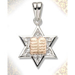 S300ST Sterling Silver Star of David with 14Kt Gold Ten Commandments Tablets  1""