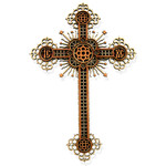 "WD-8  Wood Lazer Cut Cross With Stars NEW!!!!  7""x4 3/4"""