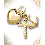 X1BC Faith Hope & Charity 14 KT Gold Puffed Heart Cross & Anchor 5/8""