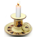 """ANA103C Beautiful Ceramic Candle Holder Decorated With 24 kt Gold NEW! 5""""x3 1/2"""""""