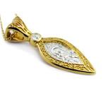 "EC-191 Sterling Silver 925 22 kt Gold Plated Icon Pendant Medal Virgin Of Vladimir 1 1/2"""