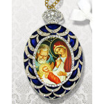 M-4B-55 Nativity Of Christ NEW!! Enameled Framed Icon With Chain & Bow