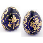 """5-B  2 Sided Crystal Egg With Cross & Flowers  4""""X3"""""""