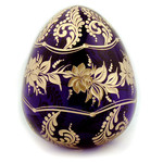 5-BF Faberge Style Blue Crystal Floral Egg 4""