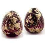 """5-RF Red Faberge Style Crystal Egg With Flowers & Birds 4"""""""