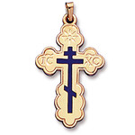"741-ECW  Three Barred Cross With Blue Enamel  1 1/2""x7/8"""