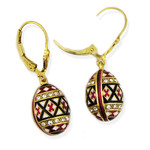8745 Earrings New Beautiful Easter Pysanky Sterling Silver Swarovsky Enameled Egg Earrings for Easter