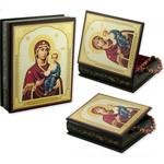 "IBX-6-S  Icon Box Virgin of Smolensk Keepsake Rosary Box  5""x4 1/4"""