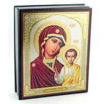 "IBX-6-K  Icon Box Virgin of Kazan Keepsake Rosary Box  5""x4 1/4"""