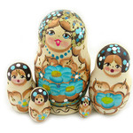 """M72B  5 Nested Wood Burn Doll With Butterfly NEW! 4"""""""