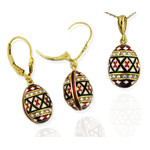 8745-8744 Set of Earrings & Egg Pendant Pysanki Faberge Style Sterling Silver Gold  Swarovki