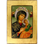 "TFS102T Virgin of Perpetual Help Seriograph Icon With Silver & Swarovsky Crystal Elements 16""x11"""