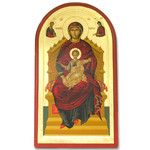 "TS129Q Virgin Mary Enthroned Greek Serigraph Icon 12 1/4""x7"""