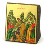 "TS445 Transfiguration Serigraph Greek Icon  Icon Bronze Leaf 2 1/4""x2"" thckness of the icon 1"""