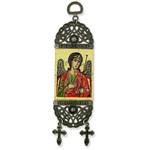 "TST28 Saint Michael Icon Tapestry Textile Art 7""x2"""