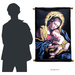 "TXL-2  Extra Large Tapestry Sacred Image of the Madonna & Child 24 1/2"" NEW!!!"