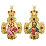 CR-2-15-17 Matching Set of Virgin of Vladimir & Christ The Teacher Cross Shape Icon Pendants NEW!!