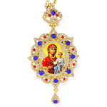 M-3-40 Madonna & Child Virgin of Don in Panagia Style Framed Icon Pendant Ornament With Crown & Chain/ Christmas Ornament