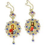 M-3-40 M-3-8 Matching Set of 2 Panagia Style Icon Pendants For Room Car Christmas Tree Decoration NEW!