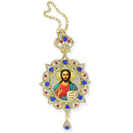 M-3-8 Christ The Teacher Panagia Style Framed Icon Pendant Ornament With Crown & Chain/ Christmas Ornament