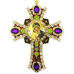 CR-4R-10 Jeweled Wall Icon Cross Virgin of Vladimir Enameled Room Wall Decoration 6""