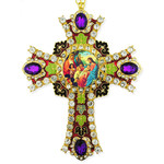 CR-4R-13 Jeweled Wall Icon Cross Christ With Children Enameled Room Wall Decoration 6""