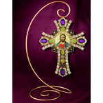CR-4R-15 Jeweled Wall Icon Cross Christ The Teacher Enameled Room Wall Decoration 6""