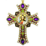 CR-4R-16 Jeweled Wall Icon Cross Christ The Teacher Enameled Room Wall Decoration 6""