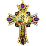 CR-4R-56 Jeweled Wall Icon Cross Virgin of Passion Enameled Room Wall Decoration 6""