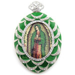 M-4G-G Our Lady of Guadalupe Icon Pendant Jeweled & Framed with Bow Chain & Gift Box NEW!