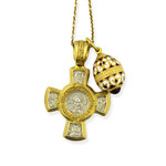 EC-63-176RW Set of 3 Sterling SIlver 925 Gold Plated Cross With Sterling Silver 925 Gold Plated Egg & Chain