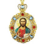 M-8-15 Christ The Teacher Jeweled Faberge Style Icon Pendant With Chain to Hang Gift Boxed