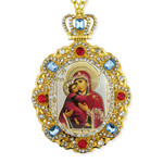 M-8-1 Virgin Mary of Vladimir Jeweled Faberge Style Icon Pendant With Chain to Hang Gift Boxed