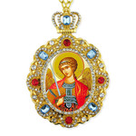 M-8-44 Saint Michael Jeweled Faberge Style Icon Pendant With Chain to Hang Gift Boxed