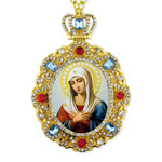 M-8-50 Virgin Mary of Extreme Humility Jeweled Faberge Style Icon Pendant With Chain to Hang Gift Boxed
