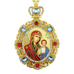 M-8-57 Virgin Mary of Kazan Christ Jeweled Faberge Style Icon Pendant With Chain to Hang Gift Boxed